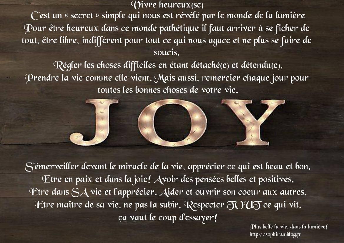 vivre heureux, le secret